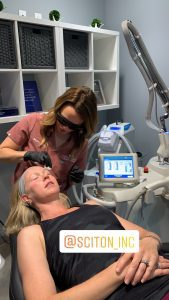 Angela Negron, FNP, performing a Sciton laser skin resurfacing treatment